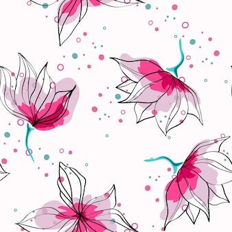 Różowe kwiaty hibiskusa tropikalny wektor wzór. egzotyczny wzór z delikatnymi pąkami. kwiatowy styl hawajski tło włókienniczych z kwiatami.