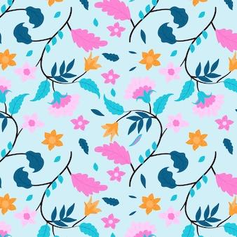 Różowe kwiaty i niebieskie liście kwiatowy wzór