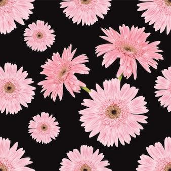 Różowe kwiaty kwiatowy wzór na czarnym tle