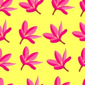 Różowe kwiaty tropikalne bezszwowe wzór egzotyczne rajskie kwiaty jasne stockowa ilustracja wektorowa