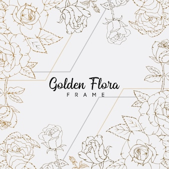 Różowe kwiaty złota linia sztuki kwiatowy wzór tła