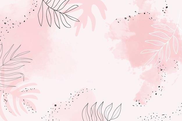 Różowe liściaste tło akwarela