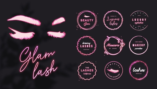 Różowe neonowe logo rzęs z edytowalnym tekstem i świecącymi okrągłymi ramkami