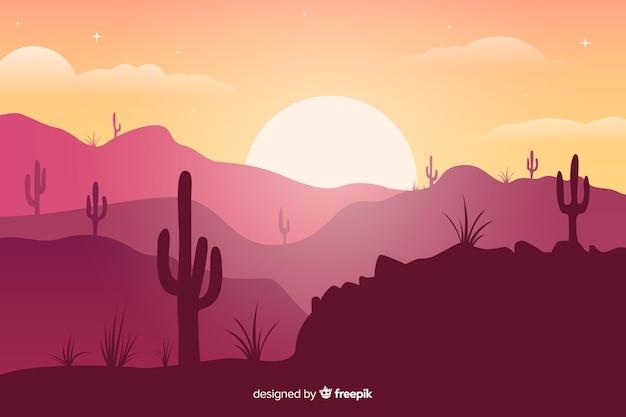 Różowe odcienie pustyni z kaktusami i jasnym słońcem