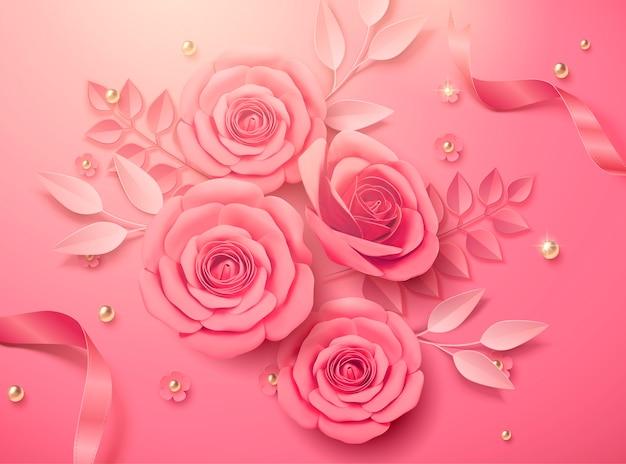 Różowe papierowe kwiaty i wstążki w ilustracji 3d