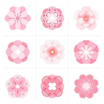 Różowe papierowe kwiaty sakura. sakura kwiat na białym tle
