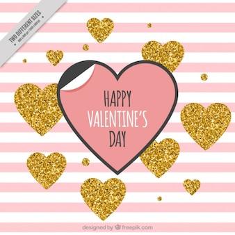 Różowe paski tle i złote serca brokat