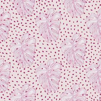 Różowe pastelowe kolory wzór z nadrukiem liści monstera. szare kropkowane tło. prosty styl.