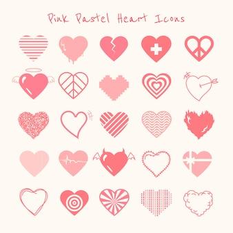 Różowe pastelowe serce ikona wektor zestaw