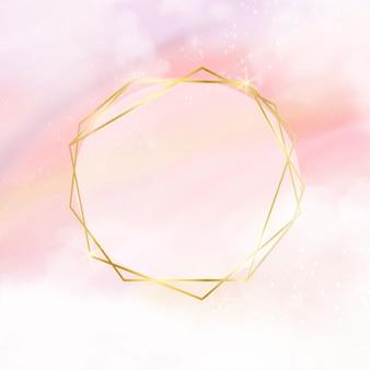 Różowe pastelowe tło akwarela ze złotą ramą