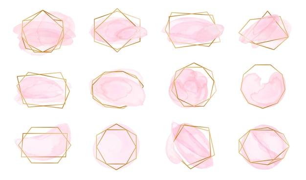 Różowe pociągnięcia pędzlem akwarelowym z geometrycznymi złotymi ramkami. pastelowe etykiety róż z abstrakcyjnymi wielokątnymi kształtami, elegancki zestaw wektorów logo mody. złote błyszczące bordiury z plamami lub plamami na ślub