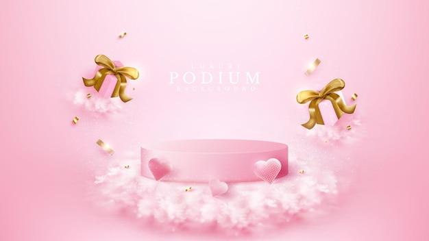Różowe podium z elementami w kształcie serca, pudełkami prezentowymi i złotą wstążką, koncepcja realistyczne luksusowe tło, pusta przestrzeń do umieszczania tekstu i produktów do promocji. ilustracja wektorowa 3d.