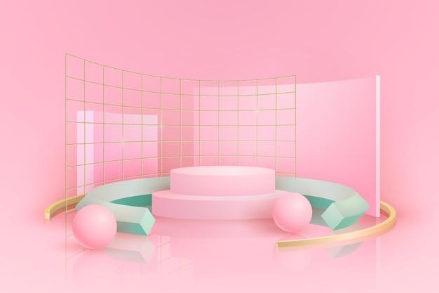 Różowe podium z metalowymi kratkami w efekcie 3d