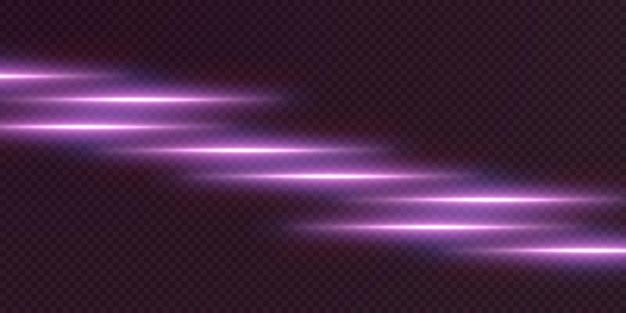 Różowe poziome flary soczewkowe pakują wiązki laserowe poziome promienie świetlne.