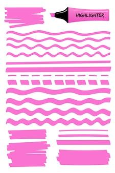 Różowe przerywane i faliste linie podkreślenia i kwadraty