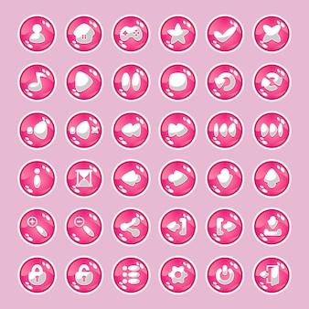 Różowe przyciski z ikonami.