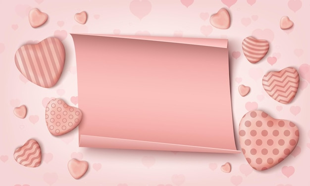 Różowe realistyczne cukierki serca i realistyczny papier.