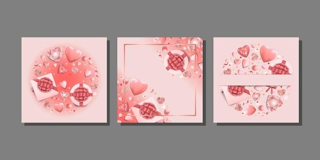 Różowe romantyczne szablony ustawione na kartki z życzeniami