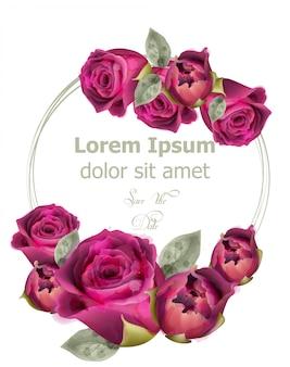 Różowe róże akwarela szablon karty