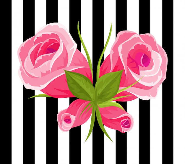 Różowe róże i pąki