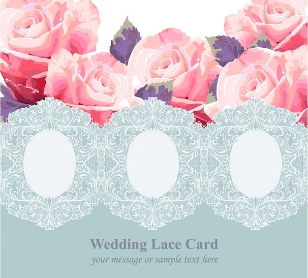 Różowe róże na vintage delikatne niebieskie koronki karty