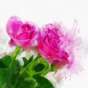 Różowe róże w malowanym stylu akwarela