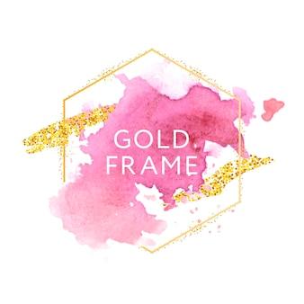 Różowe, różowe, cieliste i złote pociągnięcia pędzla w złotej sześciokątnej ramie