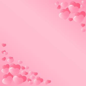 Różowe serca projekt na walentynki. szablon ulotki, vouchera, banera, karty rabatowej.