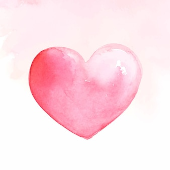 Różowe serce akwarela
