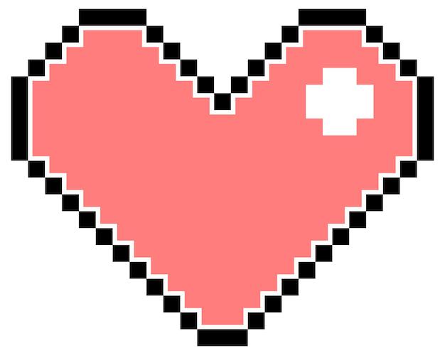 Różowe serce piksela na białym tle