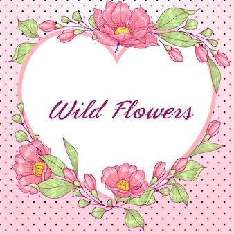 Różowe serce w kształcie karty z pozdrowieniami z kwiatami i kropkami