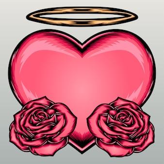 Różowe serce z różami.