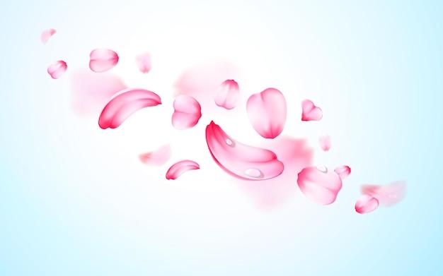 Różowe świeże spadające płatki sakura z kroplami wody, rosa z efektem rozmycia. tło wektor. 3d realistyczne szczegółowe romantyczne ilustracje.