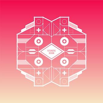 Różowe tło gradientu z futurystycznym wzorem