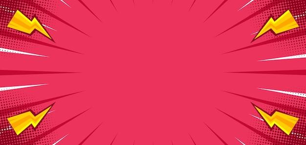Różowe tło komiksowe z błyskiem grzmotu