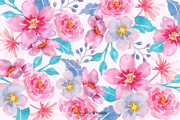 Różowe tło kwiatowy akwarela