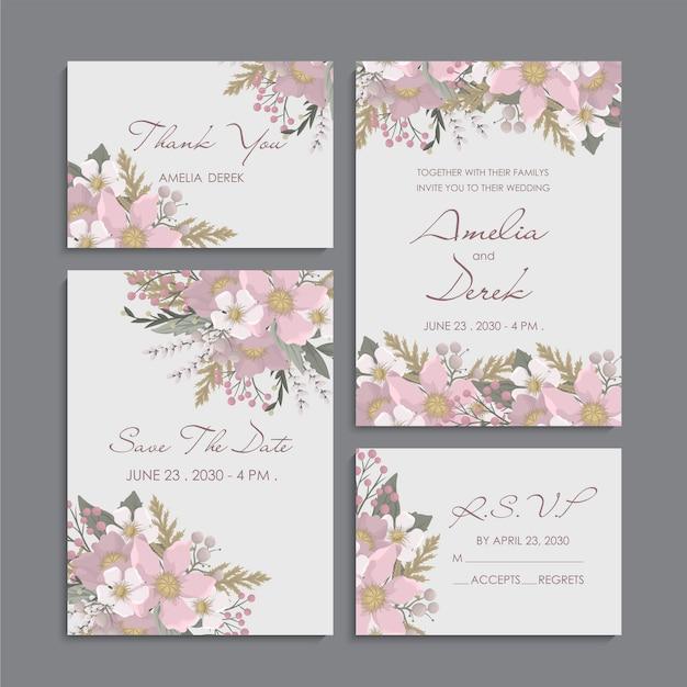 Różowe tło kwiatowy - zestaw zaproszenia ślubne