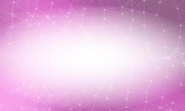 Różowe tło low poly. wielokątny wzór projektowy. jasna mozaika nowoczesny geometryczny wzór, kreatywne szablony projektowe. połączone linie z kropkami.