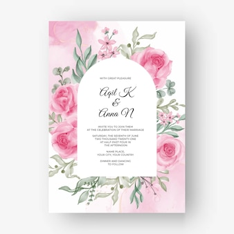 Różowe tło ramki różowy kwiat na zaproszenie na ślub