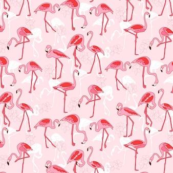 Różowe tło wzór flamingo