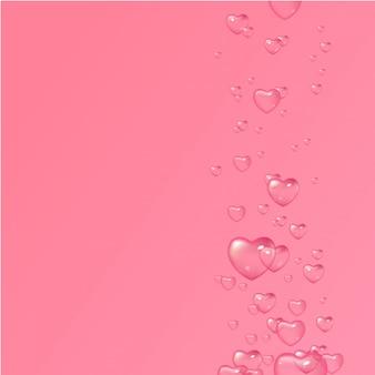 Różowe tło z bąbelkami w kształcie serc, walentynki, dzień kobiet. projekt karty z pozdrowieniami, plakatu i zaproszenia na ślub.