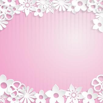 Różowe tło z kwiatami wyciętymi z białego papieru