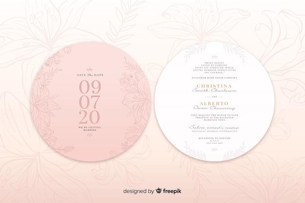 Różowe zaproszenie na ślub z prostym designem