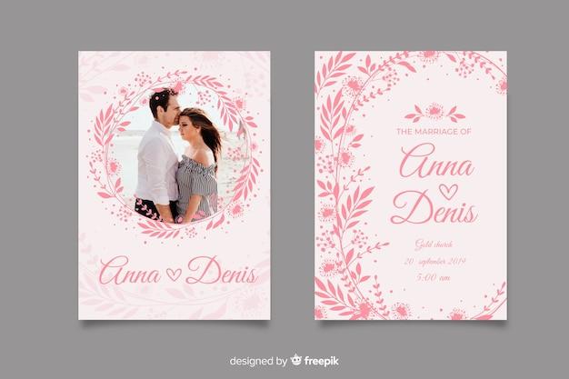 Różowe zaproszenie na ślub ze zdjęciem