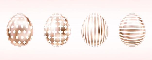 Różowe złote jajka na wielkanoc