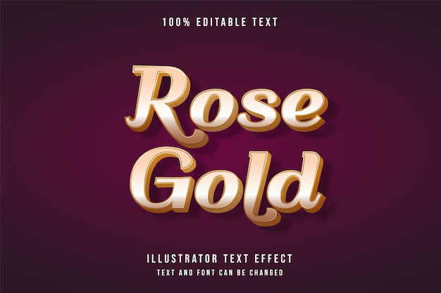 Różowe złoto, edytowalny efekt tekstowy 3d.