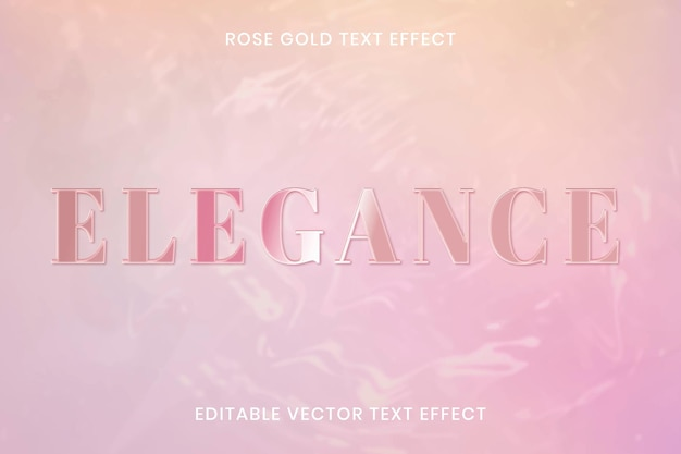 Różowe złoto efekt tekstowy wektor edytowalny szablon
