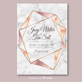 Różowe złoto geometryczne wesele zaproszenie szablon