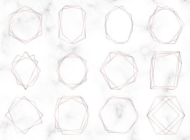 Różowe złoto geometryczne wielokątne ramki.