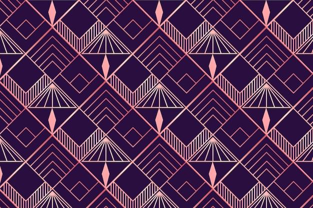 Różowe złoto i fioletowy wzór w stylu art deco
